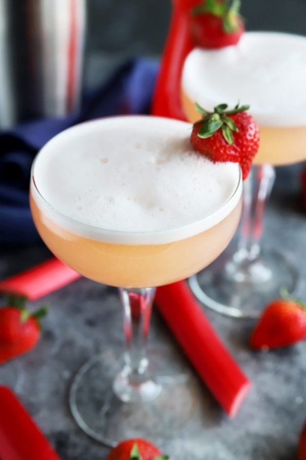 gin cocktail made with strawberries and rhubarb