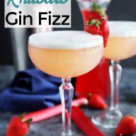 Strawberry Rhubarb Gin Fizz Cocktail