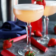 Strawberry Rhubarb Gin Fizz Cocktail