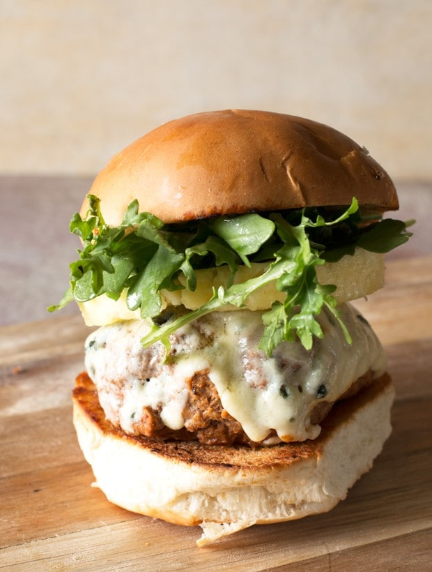 Castello Summer of Blue: Tropical Buffalo Blue Cheese Turkey Burgers | cakenknife.com
