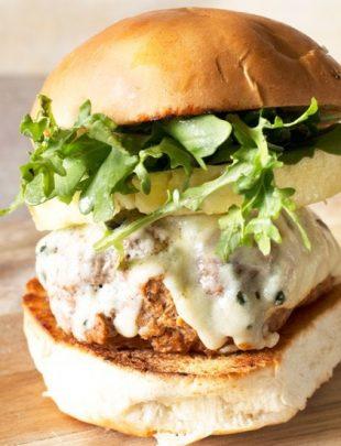 Castello Summer of Blue: Tropical Buffalo Blue Cheese Turkey Burgers | cakenknife.com