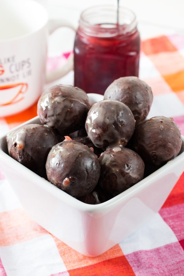 Cherry Glazed Chocolate Donut Holes | cakenknife.com