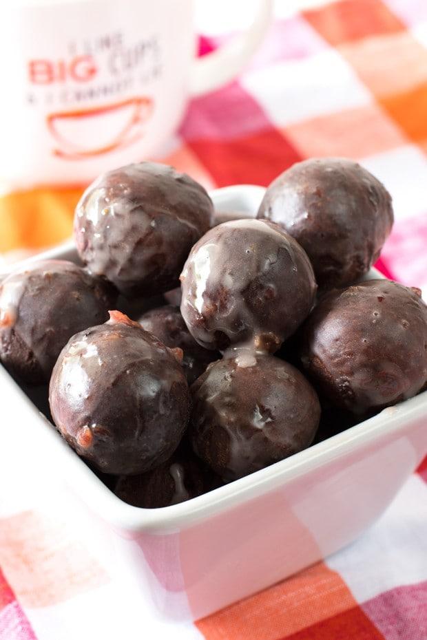Cherry Glazed Chocolate Donut Holes   cakenknife.com