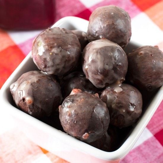 Cherry Glazed Chocolate Donut Holes - Cake 'n Knife