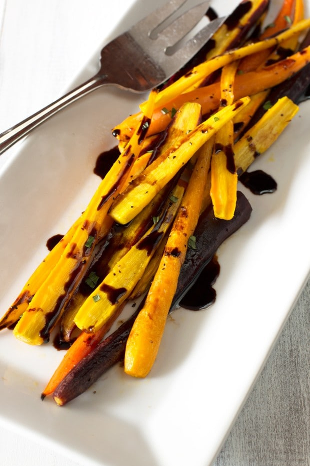 Honey Roasted Rainbow Carrots with Balsamic Reduction | cakenknife.com