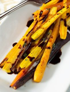 Honey Roasted Rainbow Carrots with Balsamic Reduction   cakenknife.com
