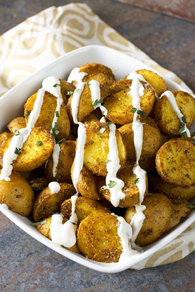 Roasted Curry Potatoes with Greek Yogurt Sauce | cakenknife.com