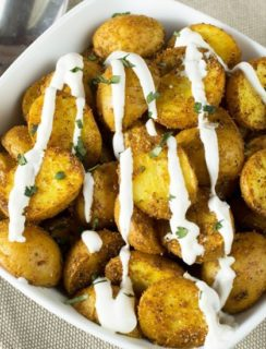 Roasted Curry Potatoes with Greek Yogurt Sauce   cakenknife.com