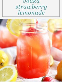 Pinterest graphic for strawberry lemonade
