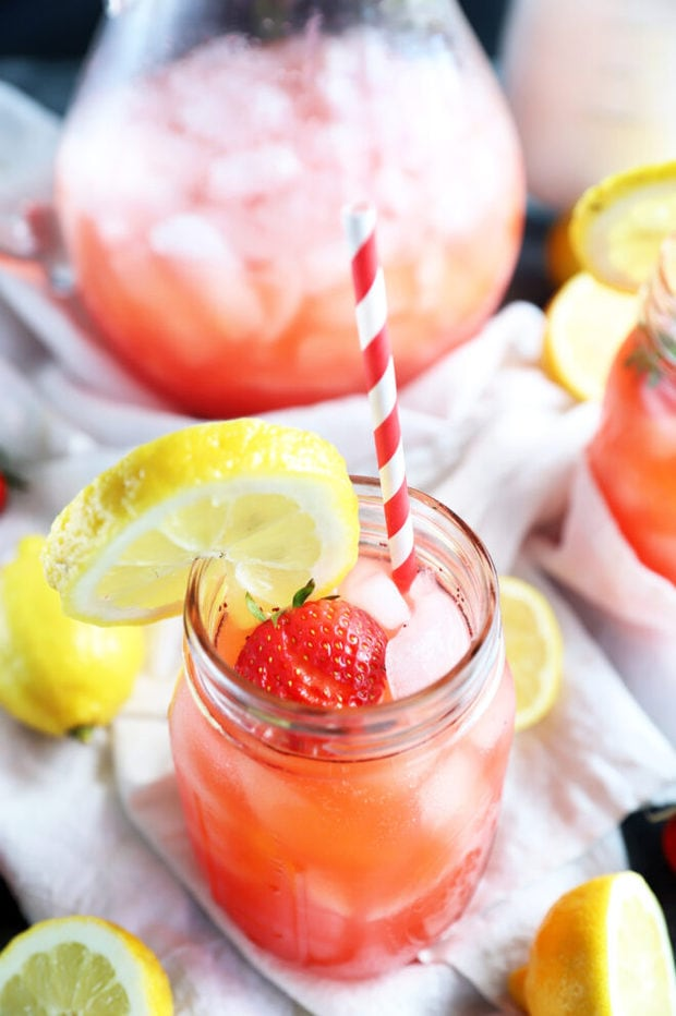 Strawberry lemonade in mason jar