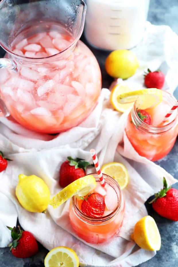 Strawberry lemonade in mason jars
