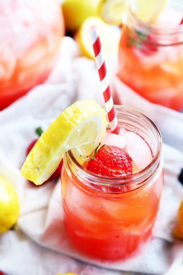 Photo of mason jar with vodka strawberry lemonade