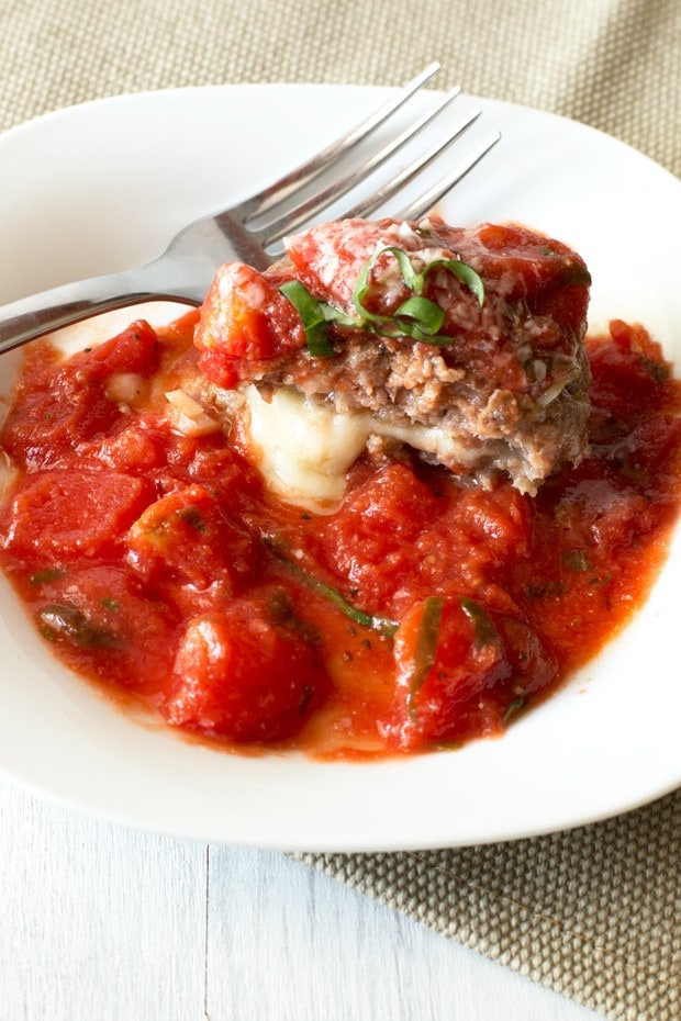 Three Cheese Stuffed Meatballs with Tomato Basil Sauce | cakenknife.com