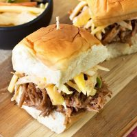 Tropical Pulled Pork Sliders with Mango Coleslaw