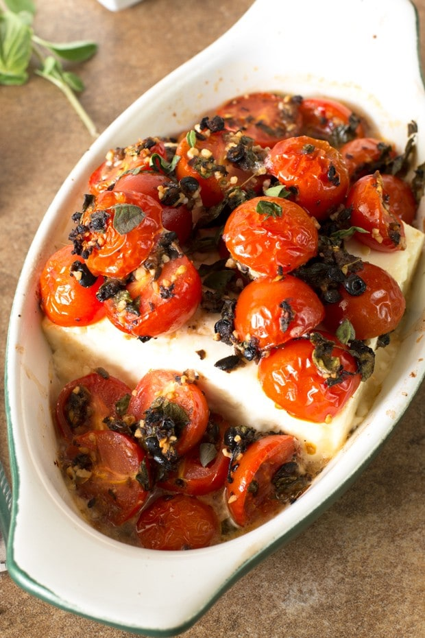 Baked Feta with Tomatoes and Fresh Herbs | cakenknife.com