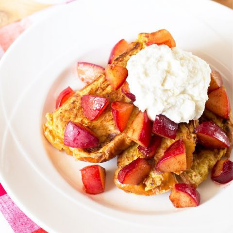Roasted Plum French Toast with Whipped Ricotta | cakenknife.com