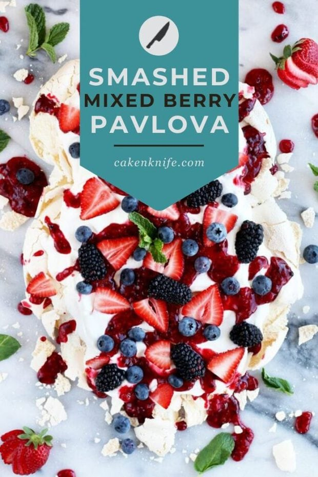 Smashed Mixed Berry Pavlova Pinterest Image
