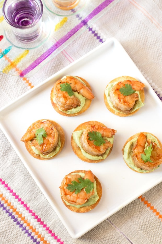 Spicy Shrimp Tostada Bites with Avocado Crema | cakenknife.com