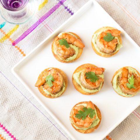 Spicy Shrimp Tostada Bites with Avocado Crema