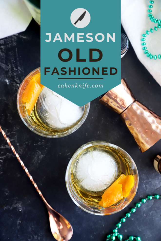 Pinterest image for Jameson old fashioned cocktail