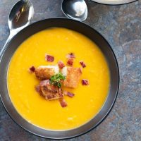 Roasted Butternut Squash Soup with Bacon Croutons