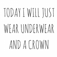 TODAY I WILL JUST WEAR UNDERWEAR AND A CROWN