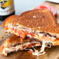 Tomato & Provolone Grilled Cheese with Kalamata Olive Chutney Recipe | cakenknife.com