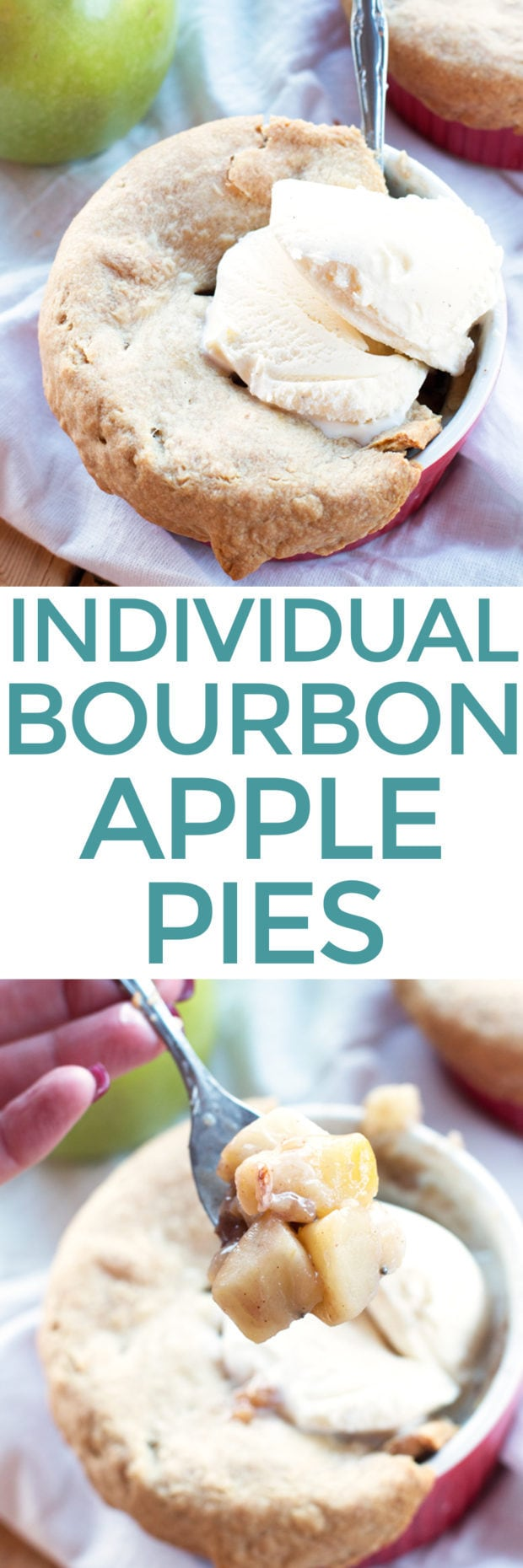 Individual Bourbon Apple Pies | cakenknife.com #dessert #thanksgiving #fall #applepie