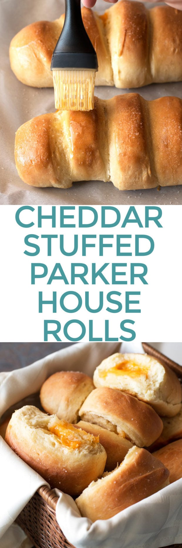 Cheddar Stuffed Parker House Rolls | cakenknife.com #thanksgiving #christmas #holidaydinner