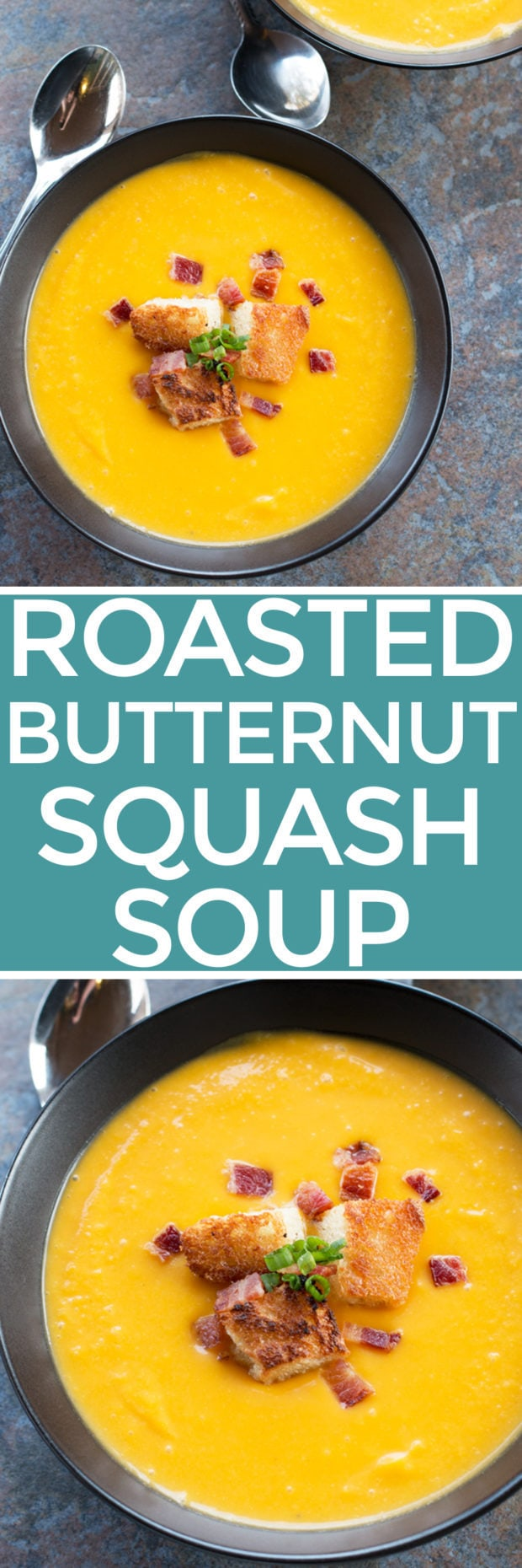 Roasted Butternut Squash Soup with Bacon Fat Croutons | cakenknife.com #soup #butternutsquash #bacon #croutons #thanksgiving #christmas