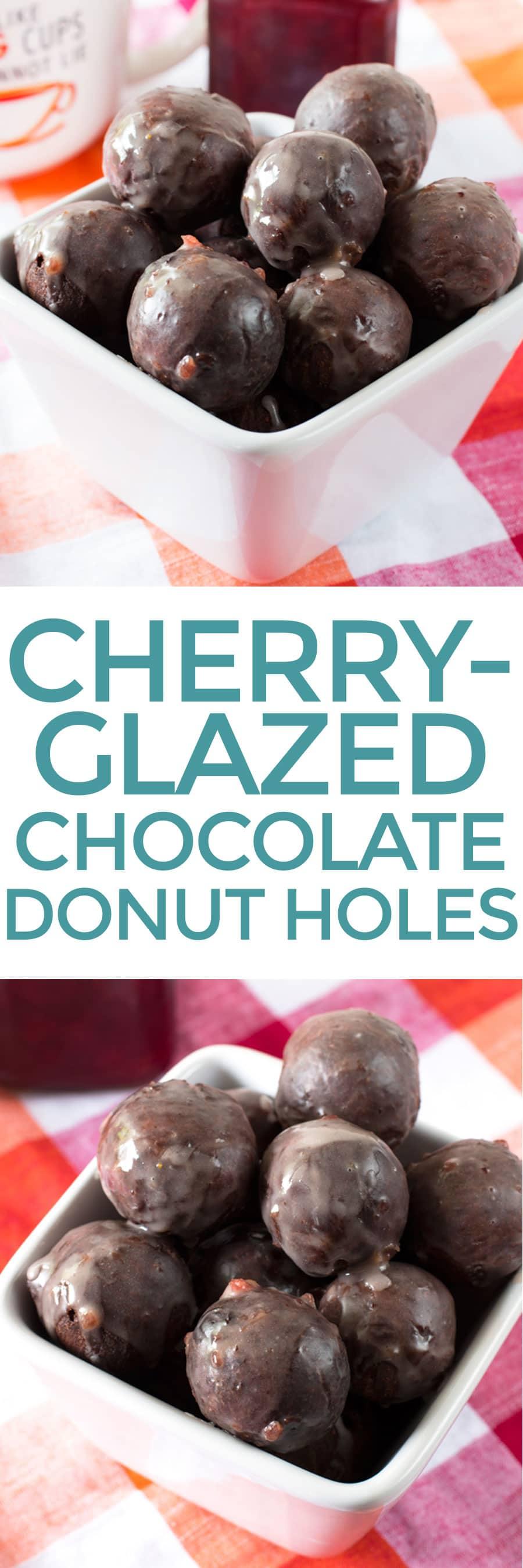 Cherry-Glazed Chocolate Donut Holes | cakenknife.com