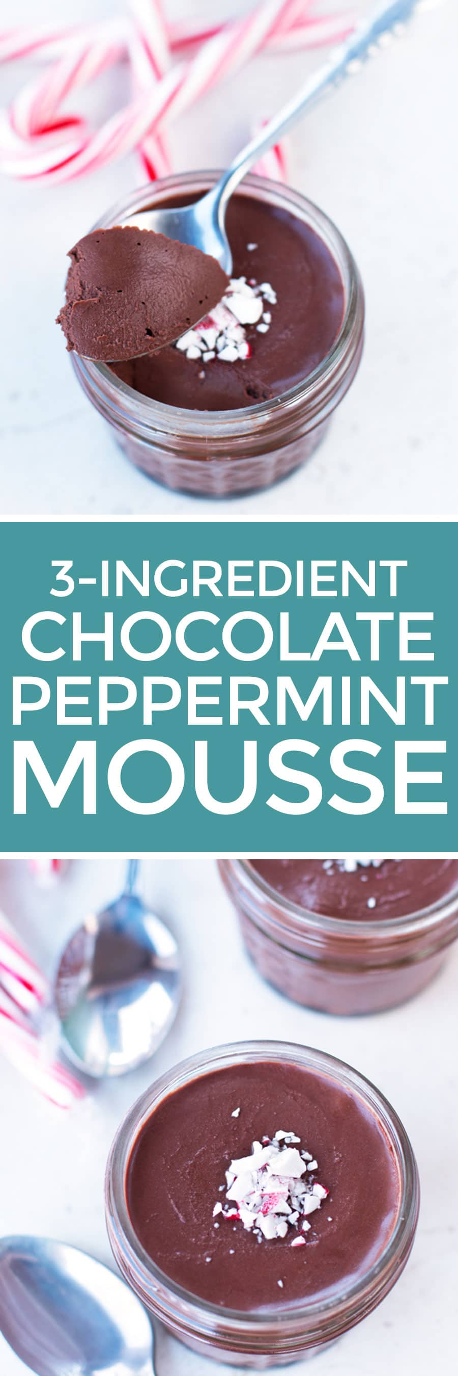 3-Ingredient Dark Chocolate Peppermint Mousse | cakenknife.com