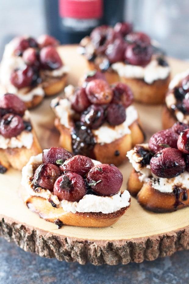 Roasted Grape & Balsamic Crostini | cakenknife.com