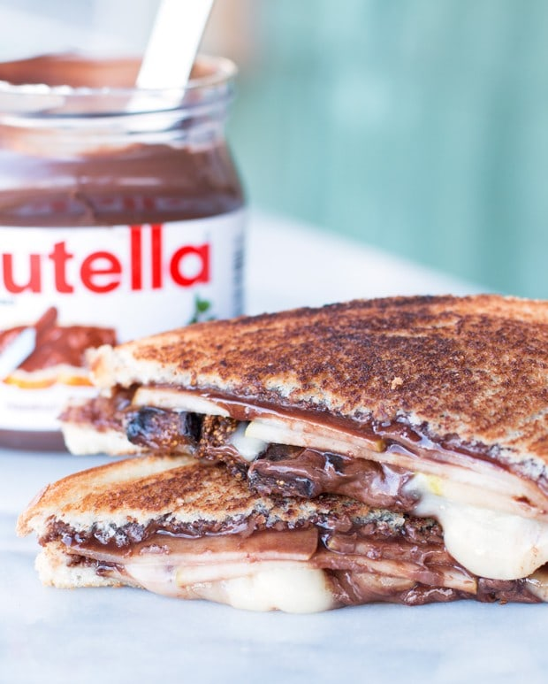Grilled Nutella, Brie, Pear & Fig Sandwich | cakenknife.com