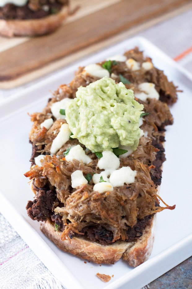 Mexican Pulled Pork Tartine (open-faced sandwich) | cakenknife.com
