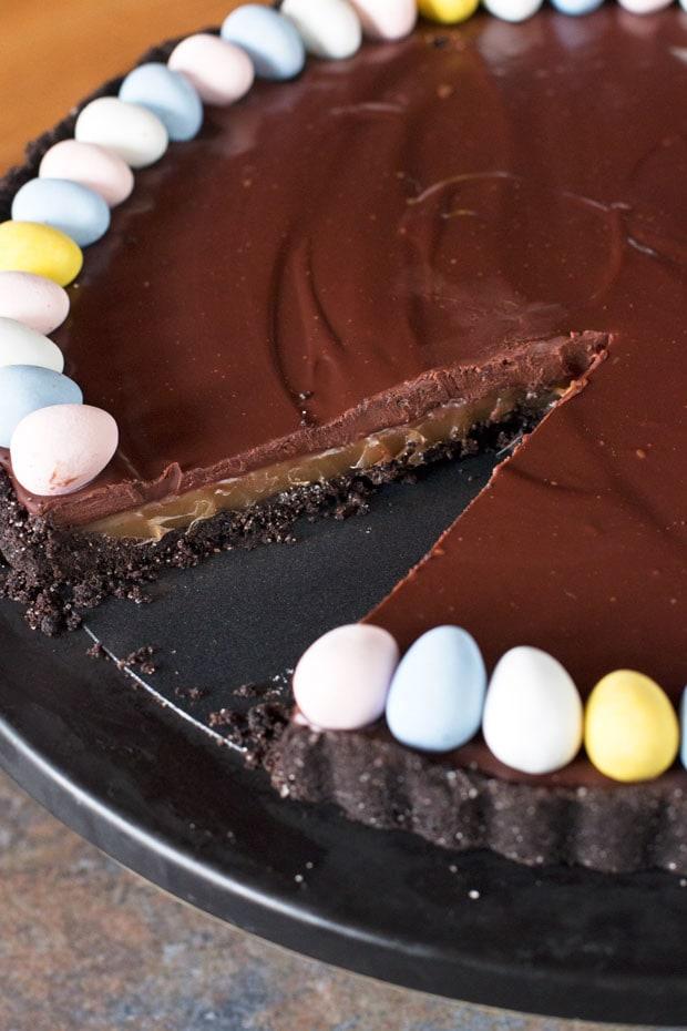 Chocolate Bourbon Caramel Tart | cakenknife.com