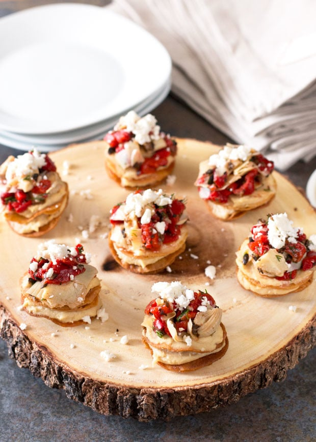 Greek Hummus Mini Tostada Stacks | cakenknife.com