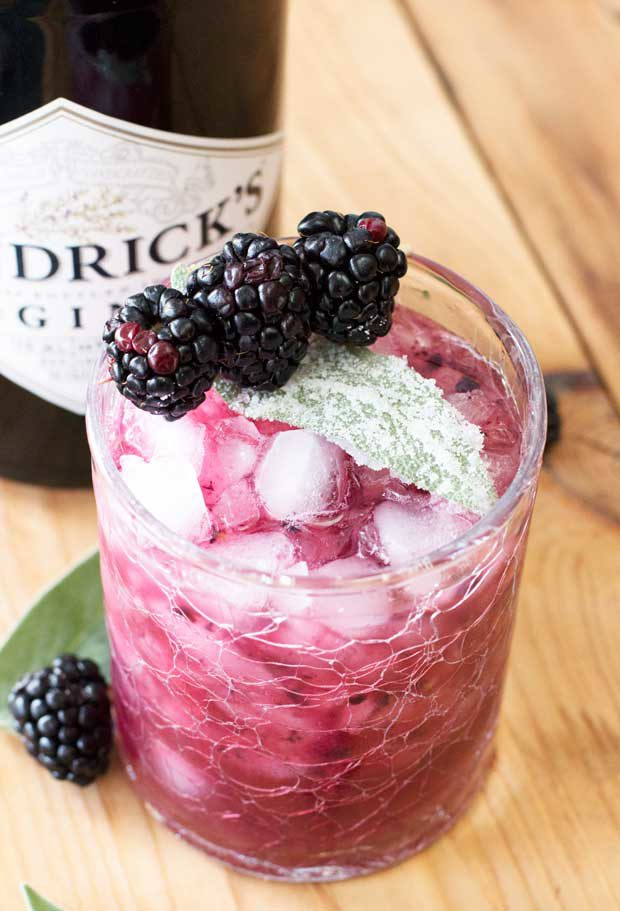 Blackberry Sage Gin Smash with Candied Sage Leaves | cakenknife.com