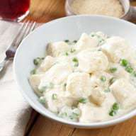 Ricotta Gnocchi with Lemon Cream Sauce & Peas | cakenknife.com