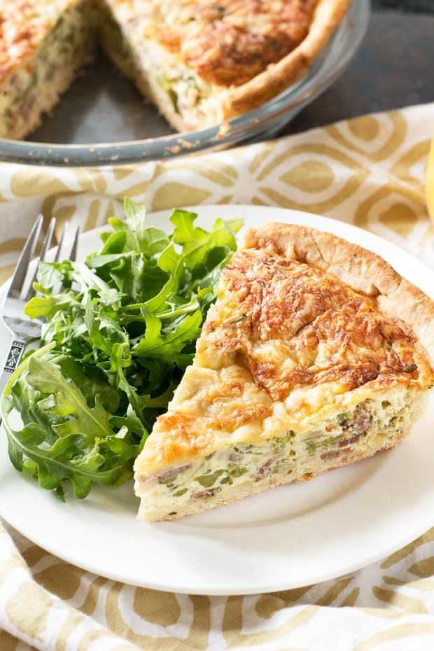 Bacon, Roasted Broccolini & Gruyere Quiche | cakenknife.com