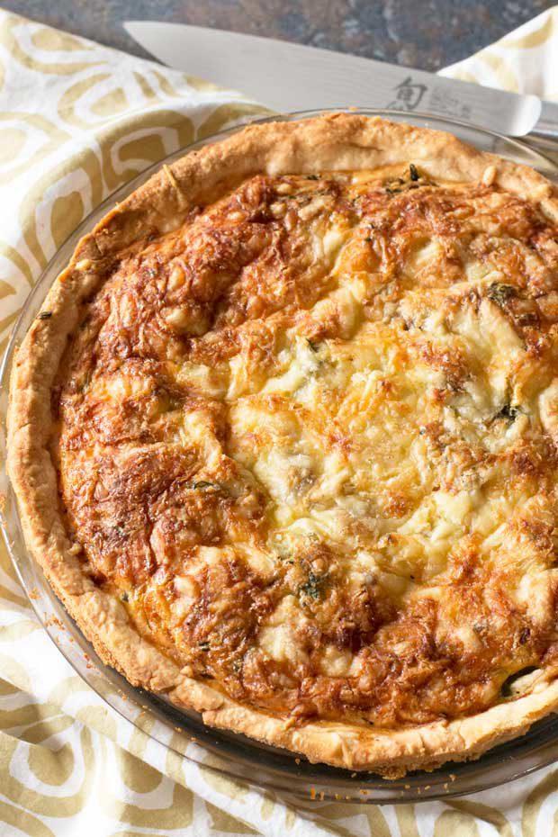 Bacon, Roasted Broccolini & Gruyere Quiche   cakenknife.com