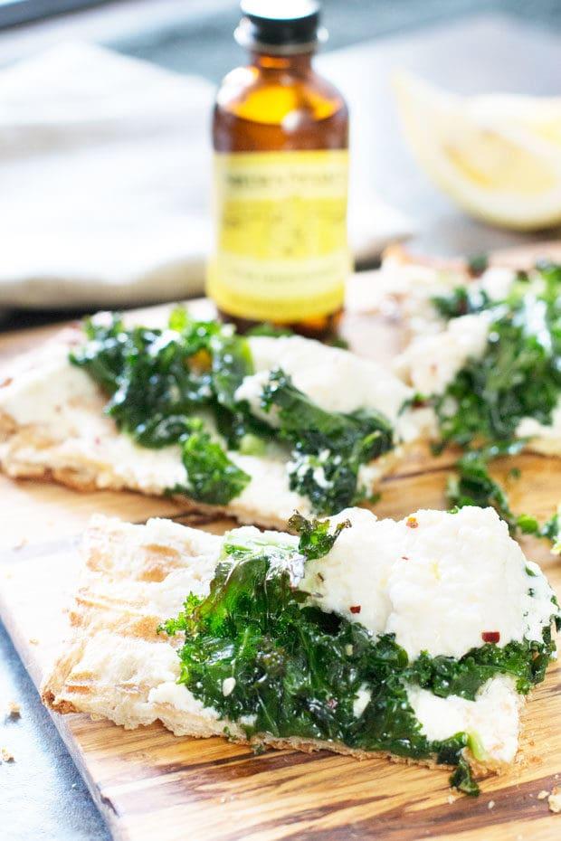 Grilled Lemon Kale Ricotta Flatbread   cakenknife.com
