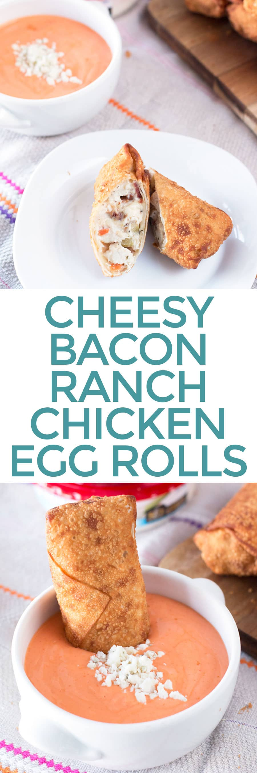 Cheesy Bacon Ranch Chicken Egg Rolls  | cakenknife.com