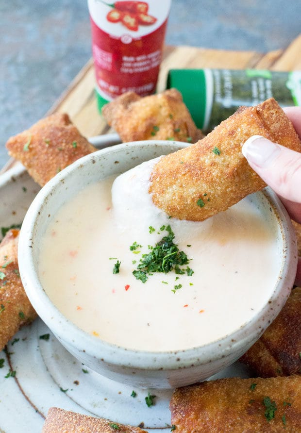 Chorizo Egg Rolls with Spicy Queso Dipping Sauce   cakenknife.com
