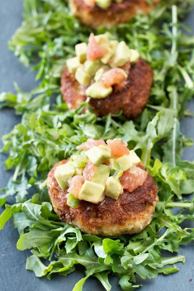 Crispy Crab Cakes with Avocado Grapefruit Salsa   cakenknife.com
