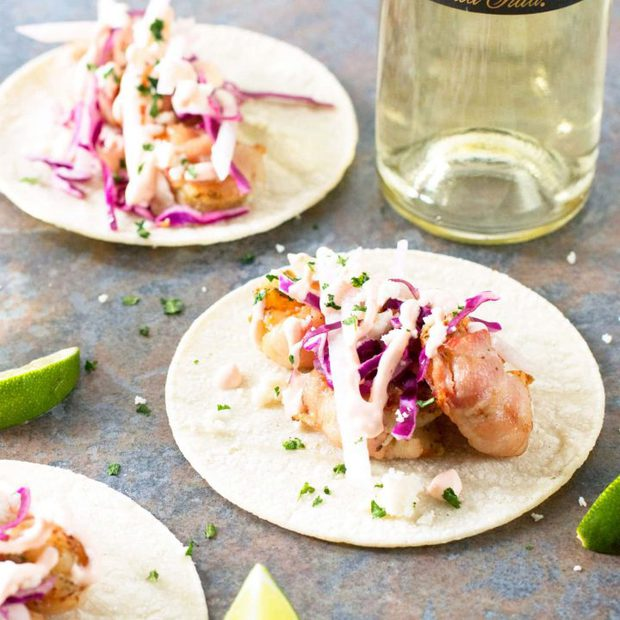 Grilled Bacon-Wrapped Shrimp Tacos