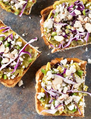 Loaded Mango Serrano Guacamole Toast | cakenknife.com