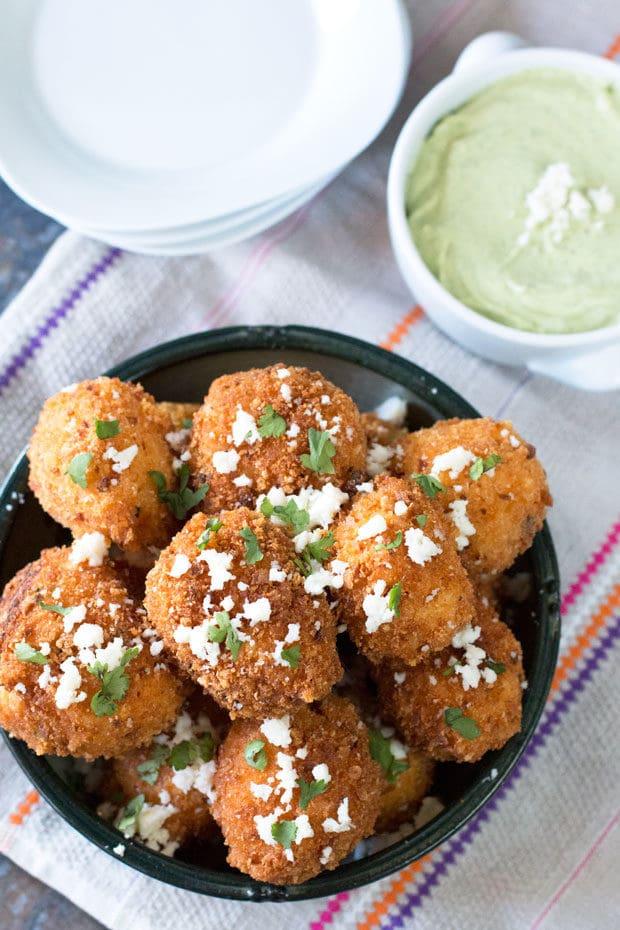 Mexican Arancini with Avocado Cilantro Dipping Sauce   cakenknife.com