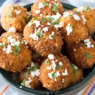Mexican Arancini with Avocado Cilantro Dipping Sauce | cakenknife.com