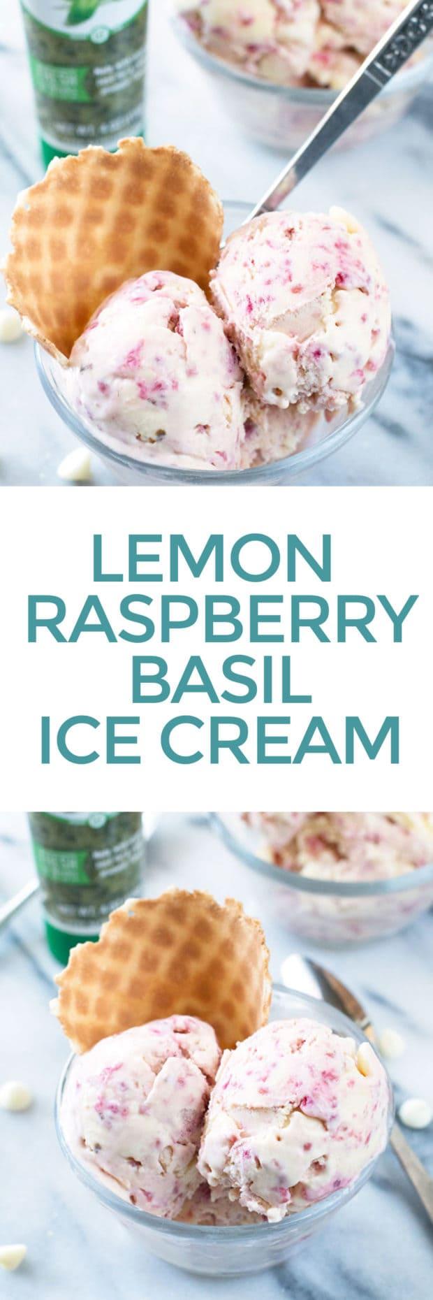Lemon Raspberry Basil Ice Cream | cakenknife.com